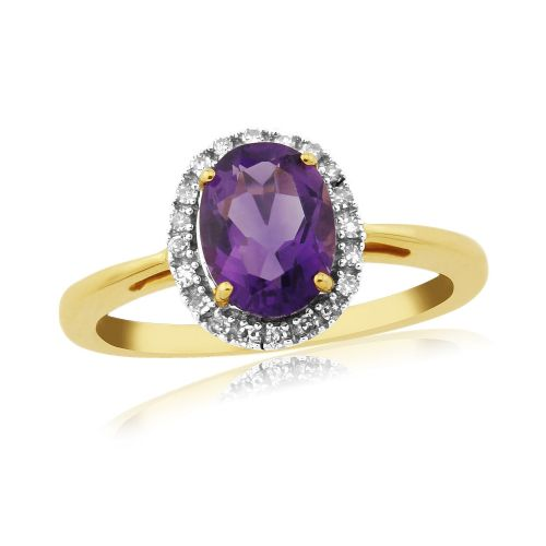 An Oval Cut Amethyst And Diamond Ring 9 Carat Yellow Gold Cluster Ring